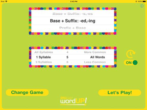 2. ​​​On the Settings screen (shown above), select the type of words to be presented. You can also select the number of syllables, grade level, and familiarity of words to be presented. Turn the response timer on/off.