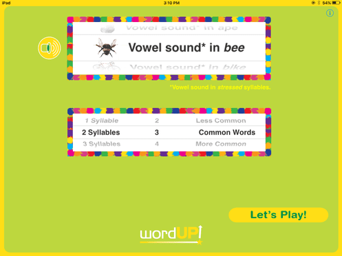 "2. ​​​On the Settings screen (shown above), select and listen to any English sound, like the long vowel 'e' sound that you hear in ""bee"". You can also select the number of syllables, grade level, and familiarity of words to be presented."