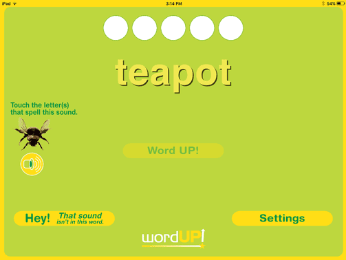 3. On the Play screen (shown above), say the displayed word out loud and touch the letter or letters that spell the selected sound in that word.