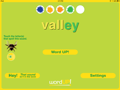 6. Challenge yourself to correctly identify the letter or letters that spell the selected sound on five words in a row!
