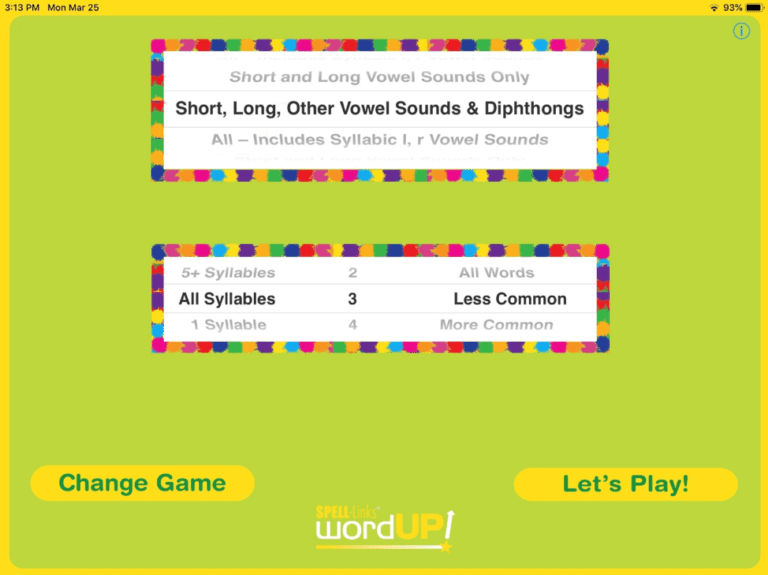 2. On the Settings screen (shown above) select a group of vowel sounds for the words to be presented on the Play screen. You can also select the number of syllables, grade level, and familiar of words to be presented.