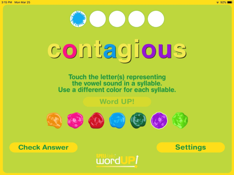4. A combination of colorful; graphics and engaging sound effects lets you know if your response was correct. Earn graphical rewards for correct responses. Correct your response before moving to the next word. Challenge yourself to correctly identify the vowel phoneme-grapheme correspondences in five words in a row!