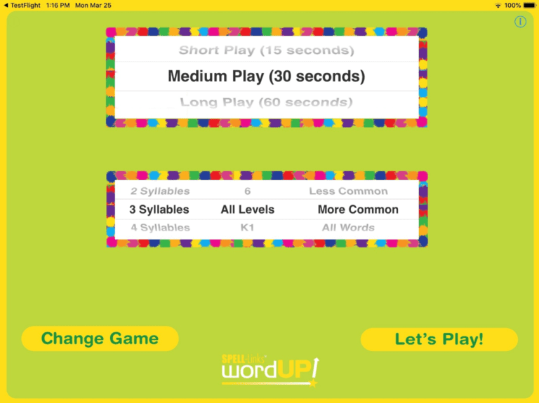 2. On the Settings screen (shown above) select a duration for a single round of play. You can also select the number of syllables, grade level, and familiar of words to be presented.
